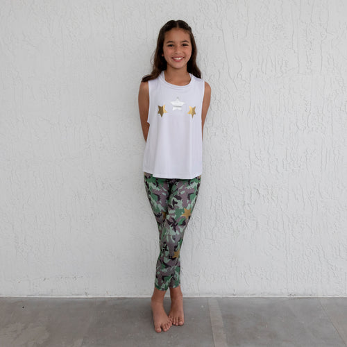 Camo Stars Legging- Green/Gold
