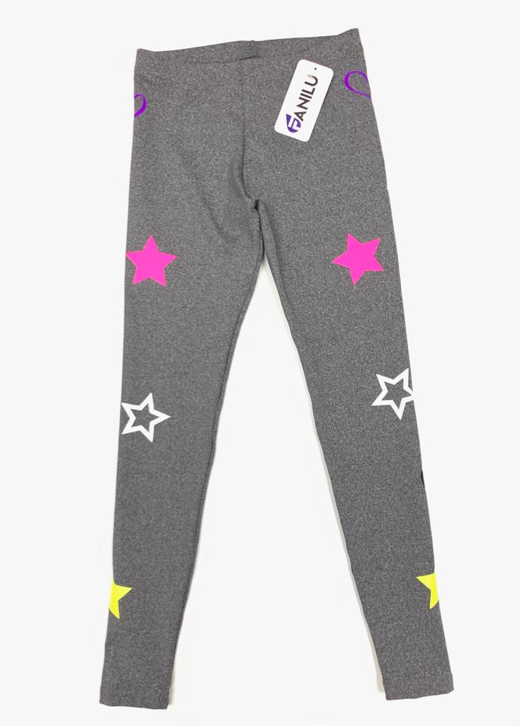 Washed Grey Fun Leggings - Fanilu