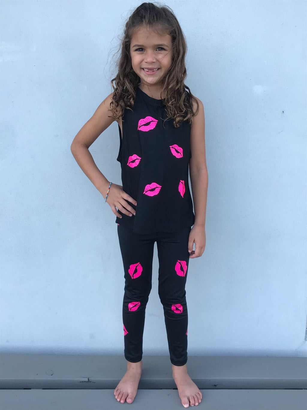 Kisses Legging- Black/Hot Pink