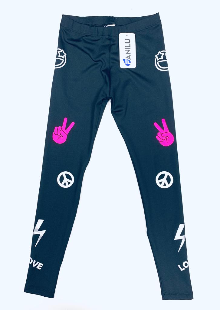 Peace Black Leggings - Fanilu Activewear For Kids