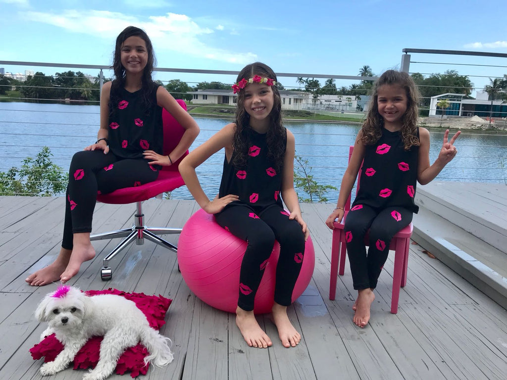 Kisses Hot Pink Black Leggings - Fanilu Activewear For Kids