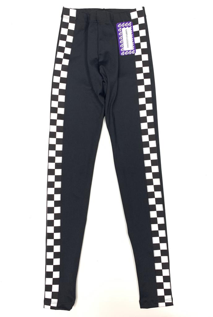 Checkers Stripe Black Leggings