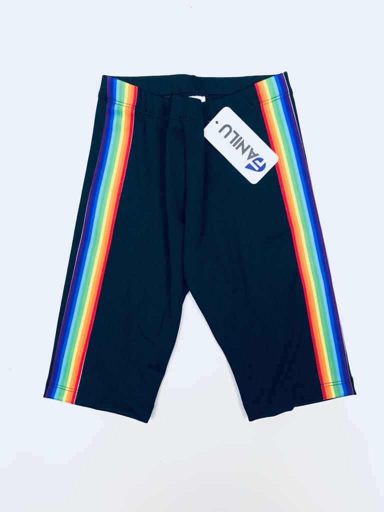 Stripe Rainbow Black Shorts