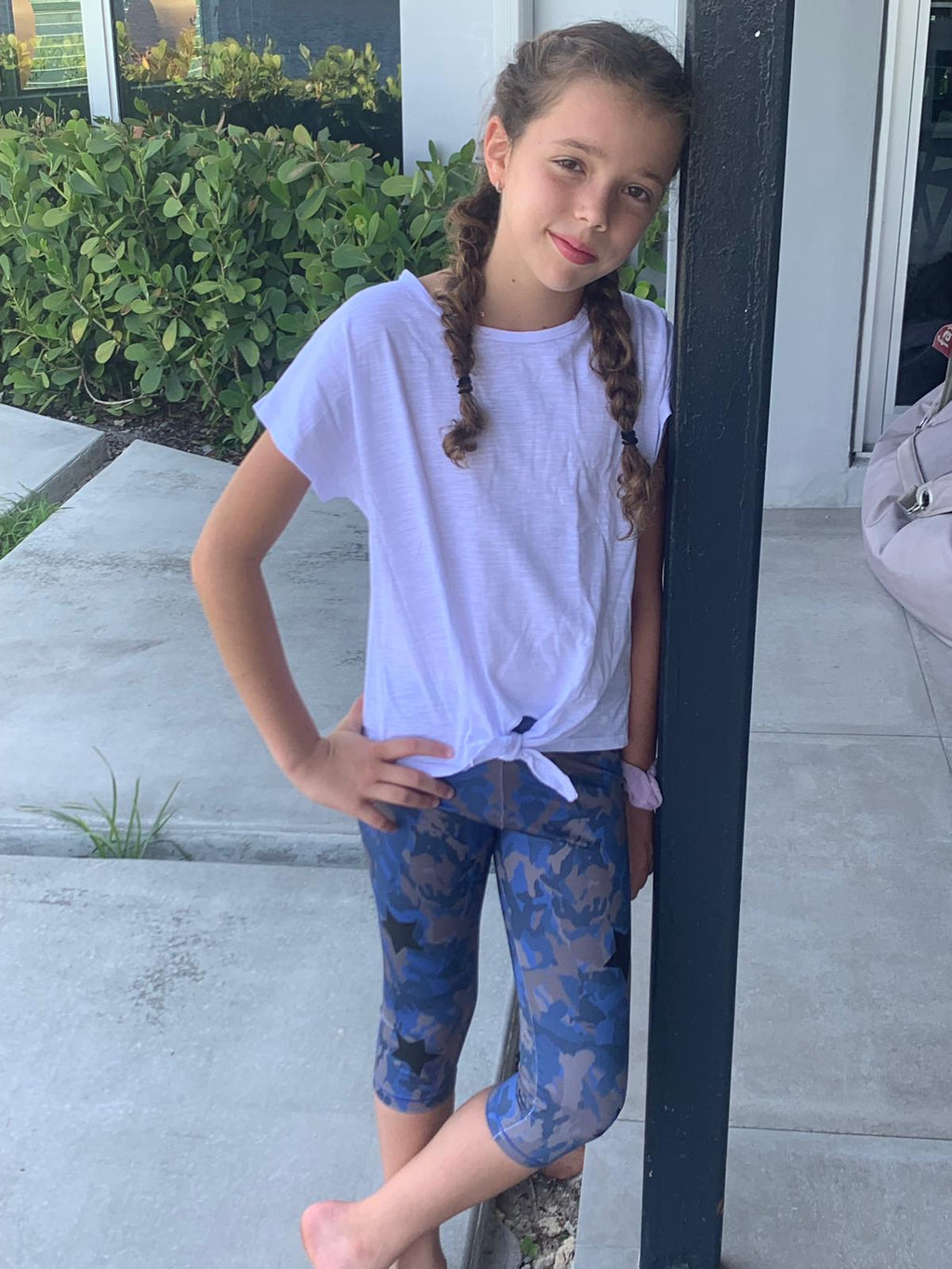 Camo Blue Capri - Fanilu Activewear For Kids