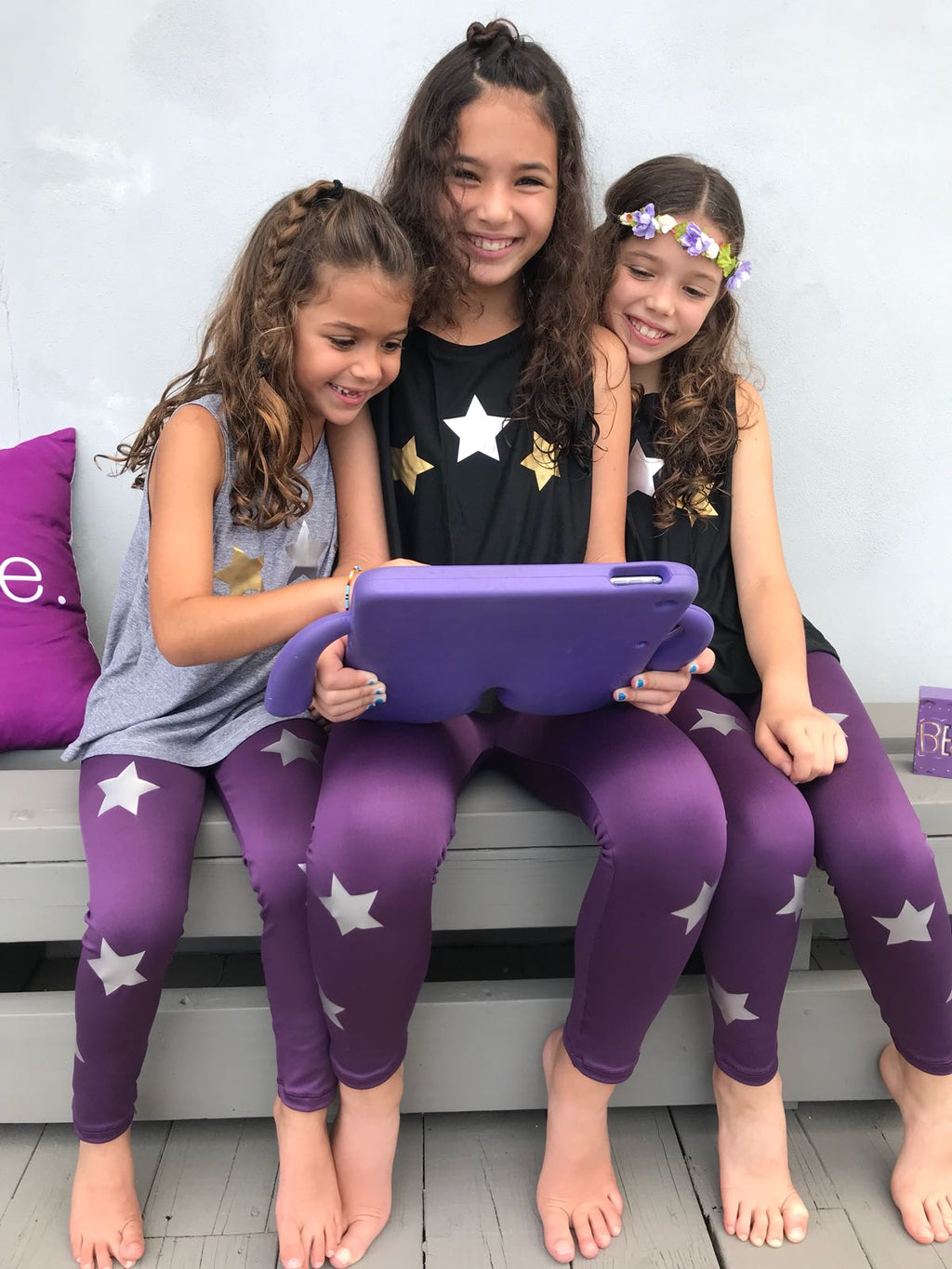 Stars Silver Purple Leggings - Fanilu