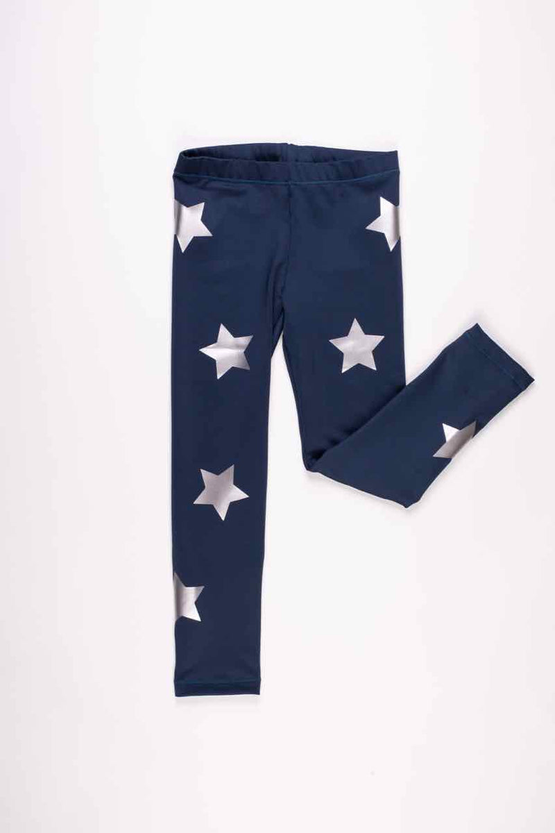 Stars Silver Navy Leggings-Legging-Fanilu