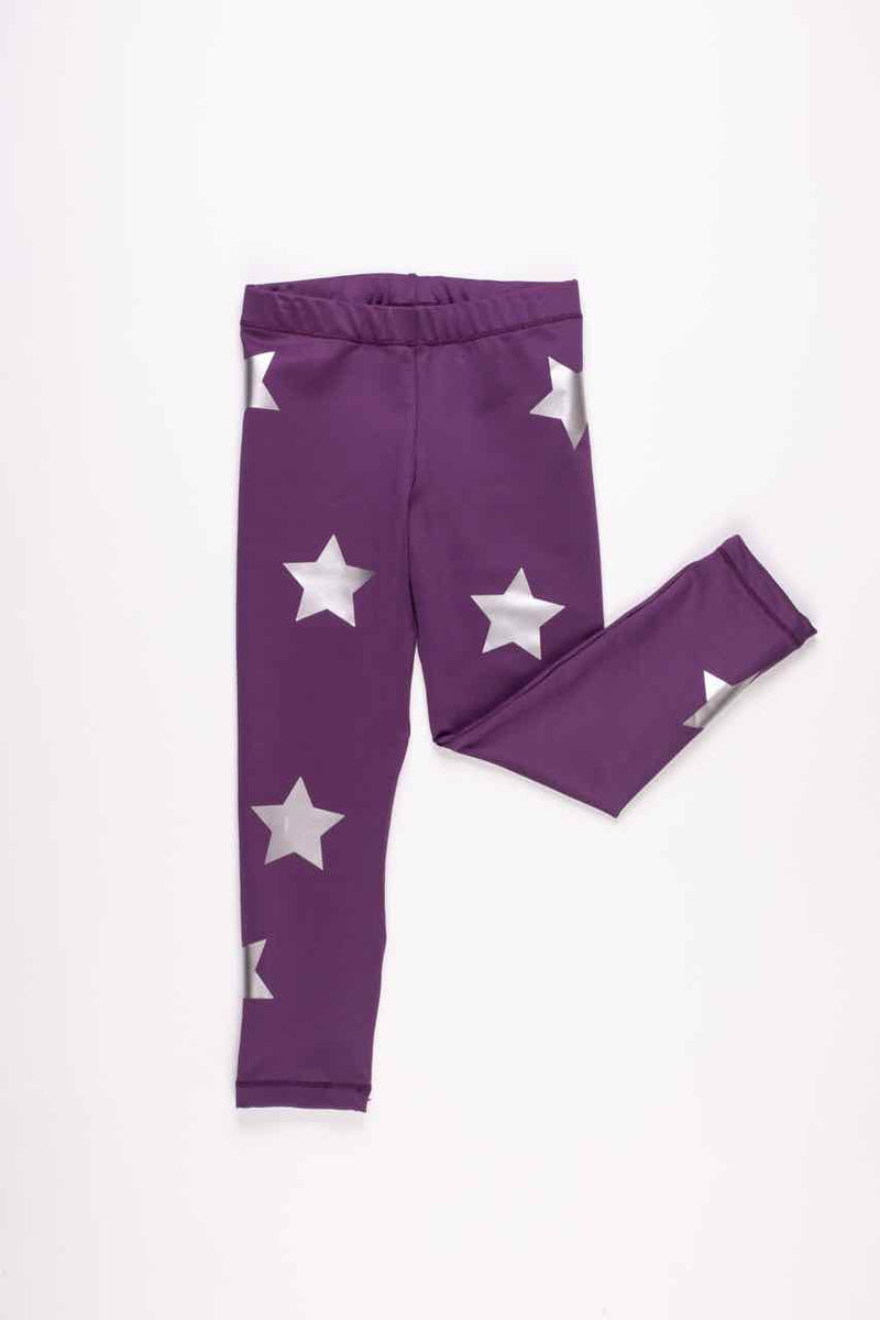 Stars Silver Purple Leggings