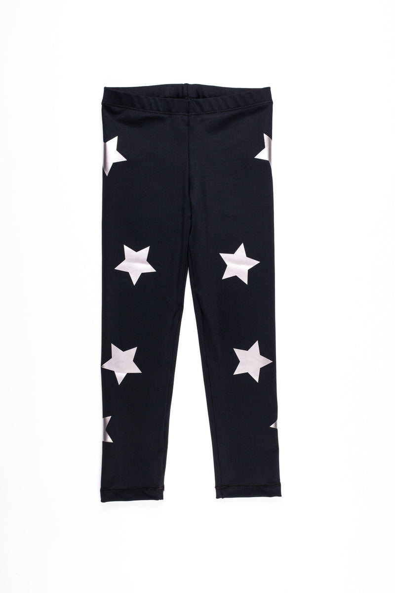 Stars Silver Black Leggings - Fanilu Activewear For Kids