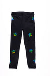 Stars  Multicolor Black Leggings - Fanilu