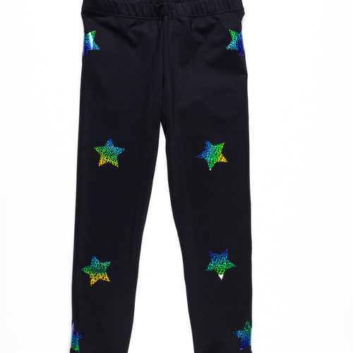 Multi Color Stars Legging- Black/Colors