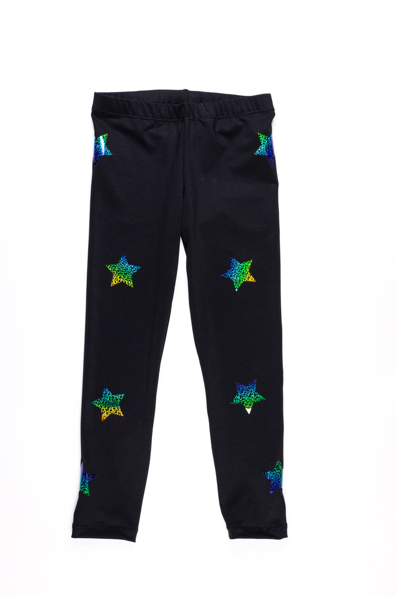 Stars  Multicolor Black Leggings - Fanilu Activewear For Kids