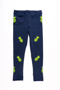 Pineapple Legging- Blue/Neon Yellow
