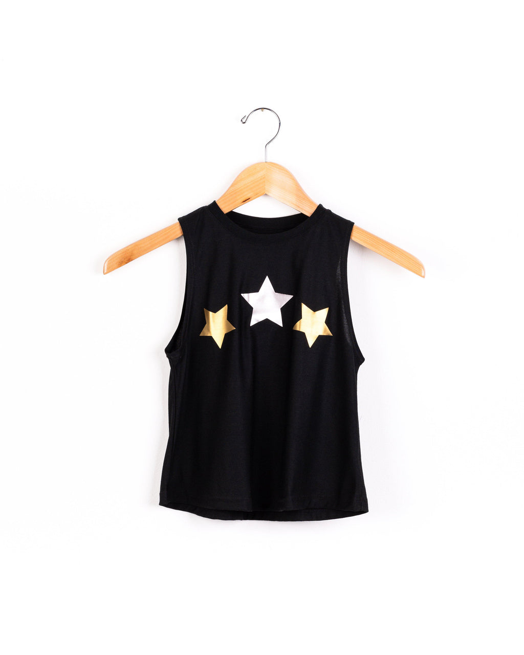 Stars Silver and Gold Black Tank
