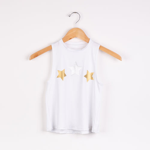 Metallic Stars Tank- White