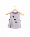 Hearts Black Gray Tank-Tanks-Fanilu