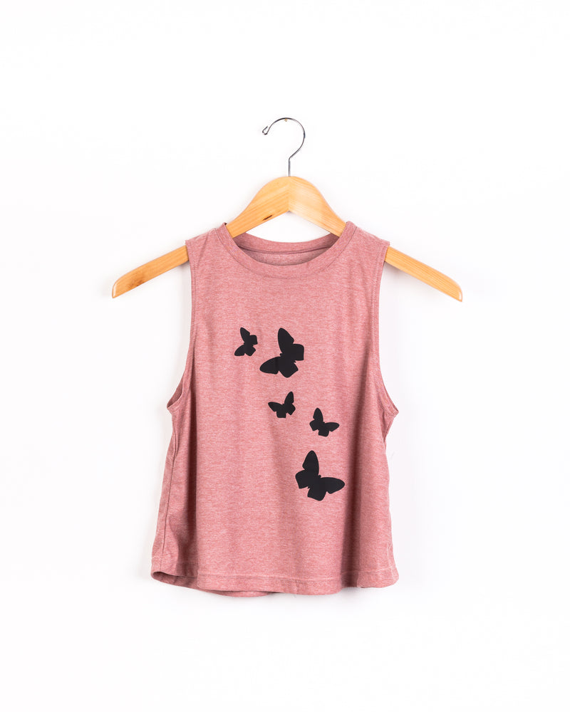 Butterflies Pink Tank - Fanilu Activewear For Kids