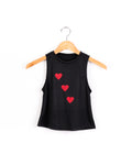 Hearts Tank- Black/Red