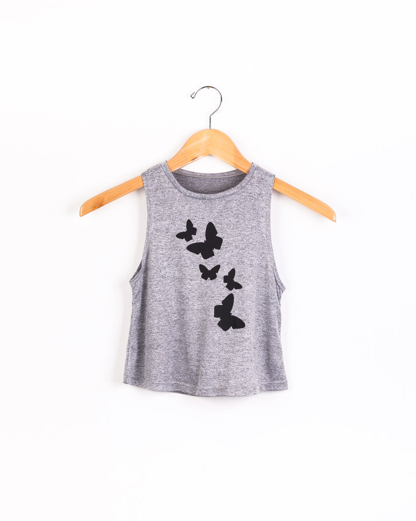 Butterflies Tank- Gray/Black