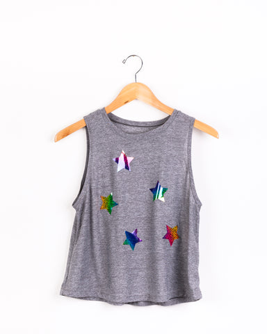 Metallic Rainbow Stars Tank- Gray