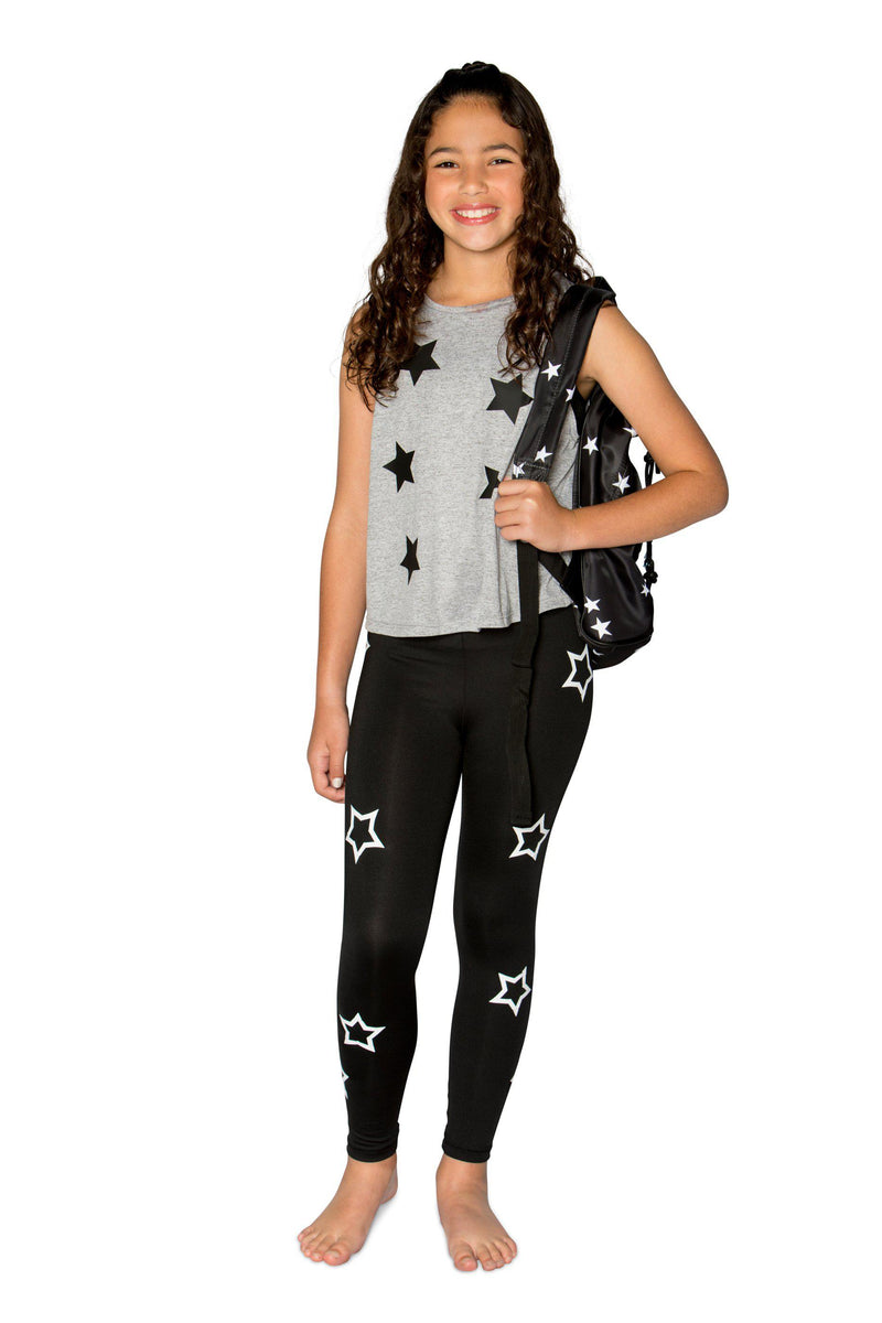 Open Stars White Leggings-Legging-Fanilu
