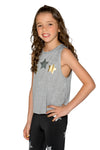 Metallic Stars Grey Tank - Fanilu Activewear For Kids