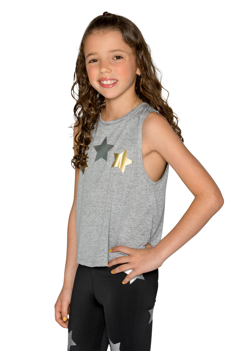 Metallic Stars Grey Tank-Tanks-Fanilu