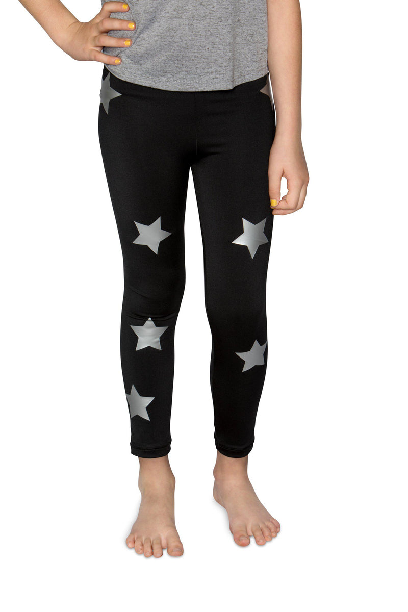Stars Silver Black Leggings-Legging-Fanilu