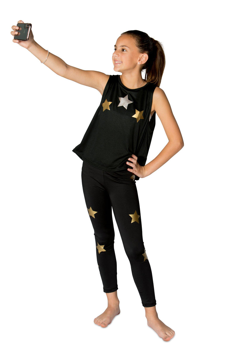 Stars Gold Leggings - Fanilu Activewear For Kids