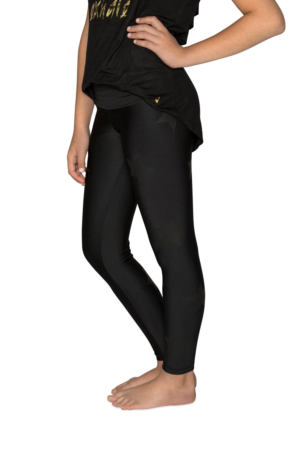 Stars Black Leggings - Fanilu
