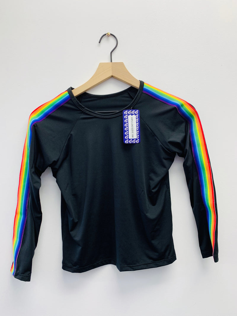 Stripe Rainbow Black Long Sleeve Tank - Fanilu Activewear For Kids
