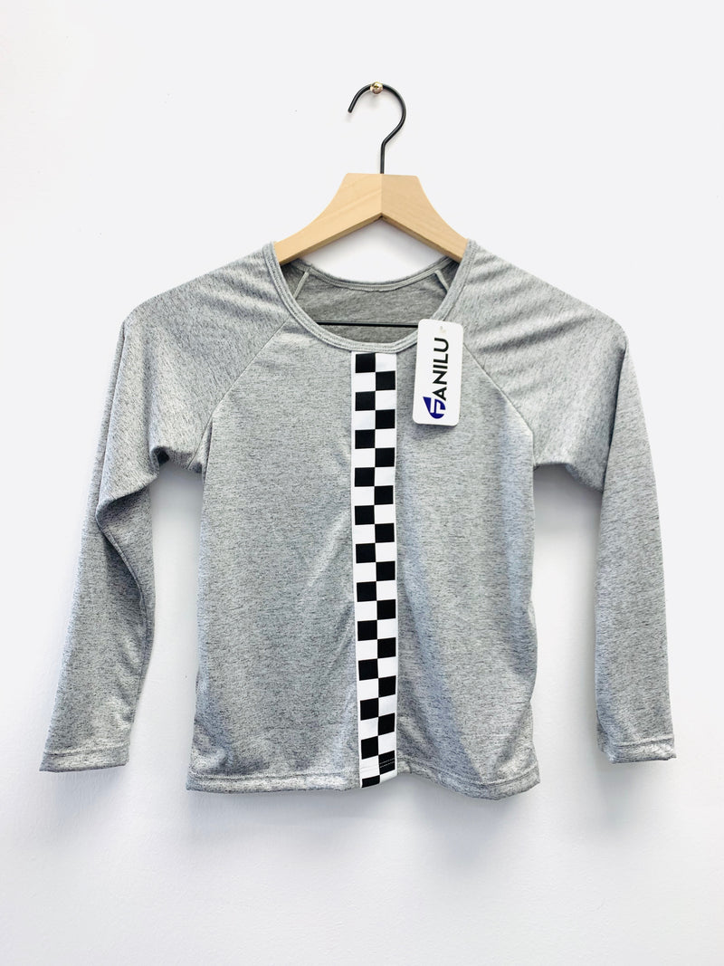 Checkers Grey Long Sleeve Tank