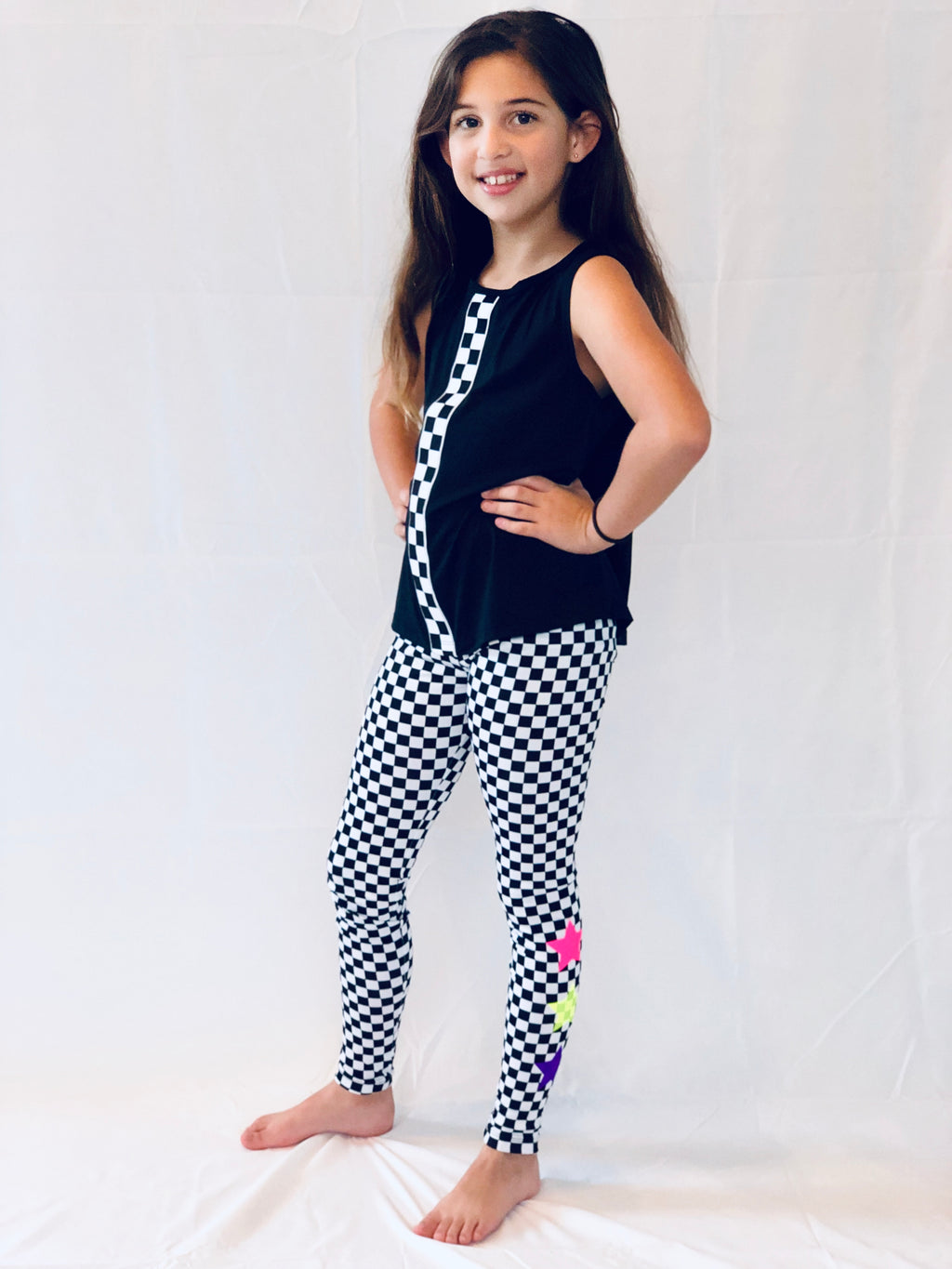 Checkers Stripe Black Tank - Fanilu Activewear For Kids