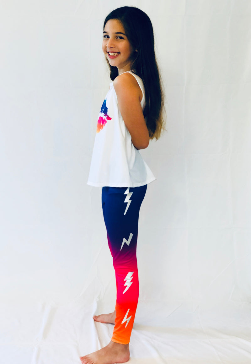 Bolts Tie Dye Leggings-Legging-Fanilu