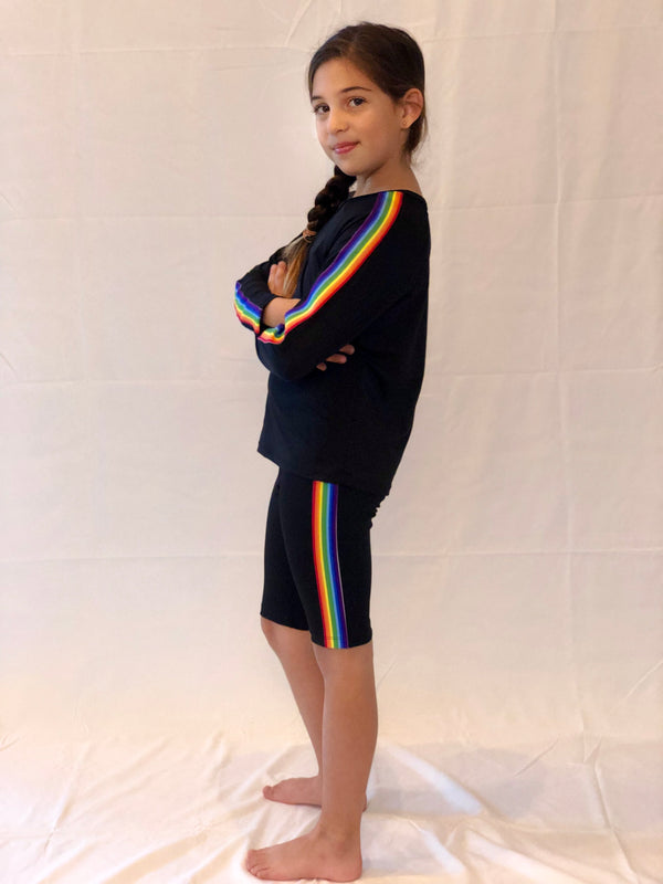Stripe Rainbow Black Shorts-Legging-Fanilu