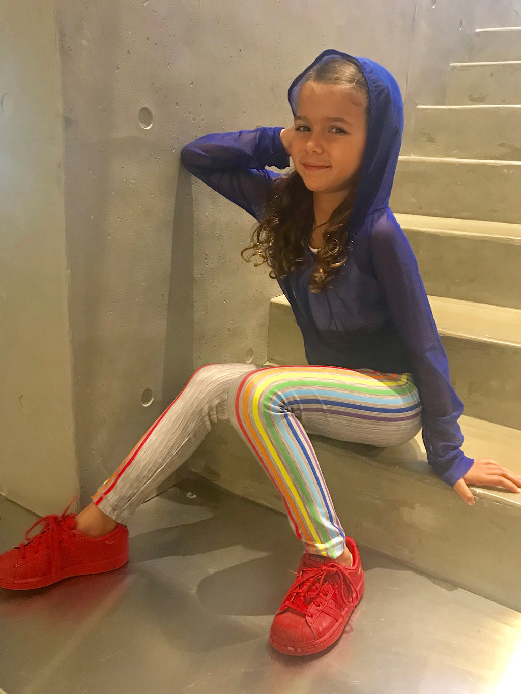 Rainbow Gray Leggings - Fanilu Activewear For Kids