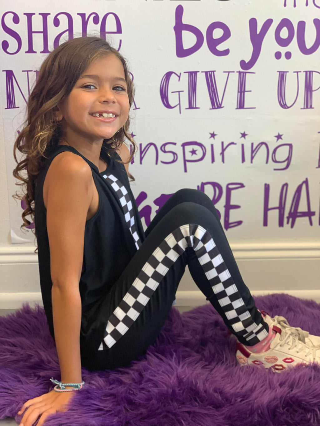 Checkers Stripe Black Leggings - Fanilu Activewear For Kids