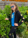 Stars Gold Black Jacket - Fanilu Activewear For Kids