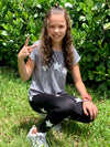 Stars White Black Leggings - Fanilu Activewear For Kids