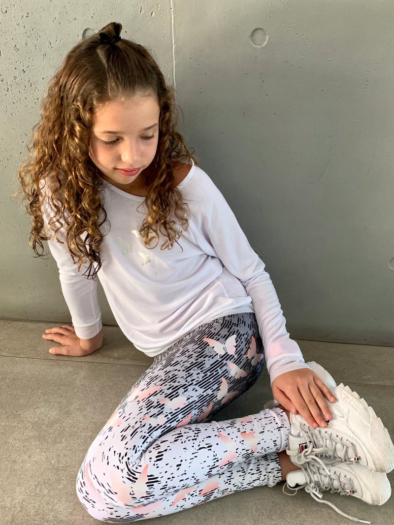 Butterfly Salmon Leggings-Fanilu
