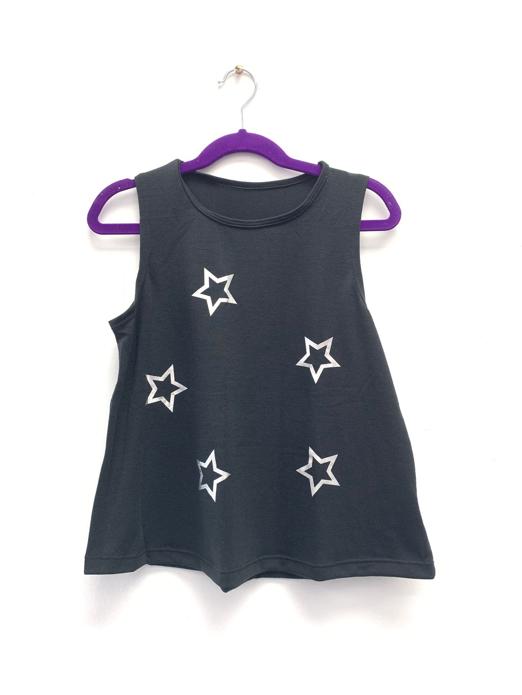 Open Star Silver Black Tank-Tanks-Fanilu
