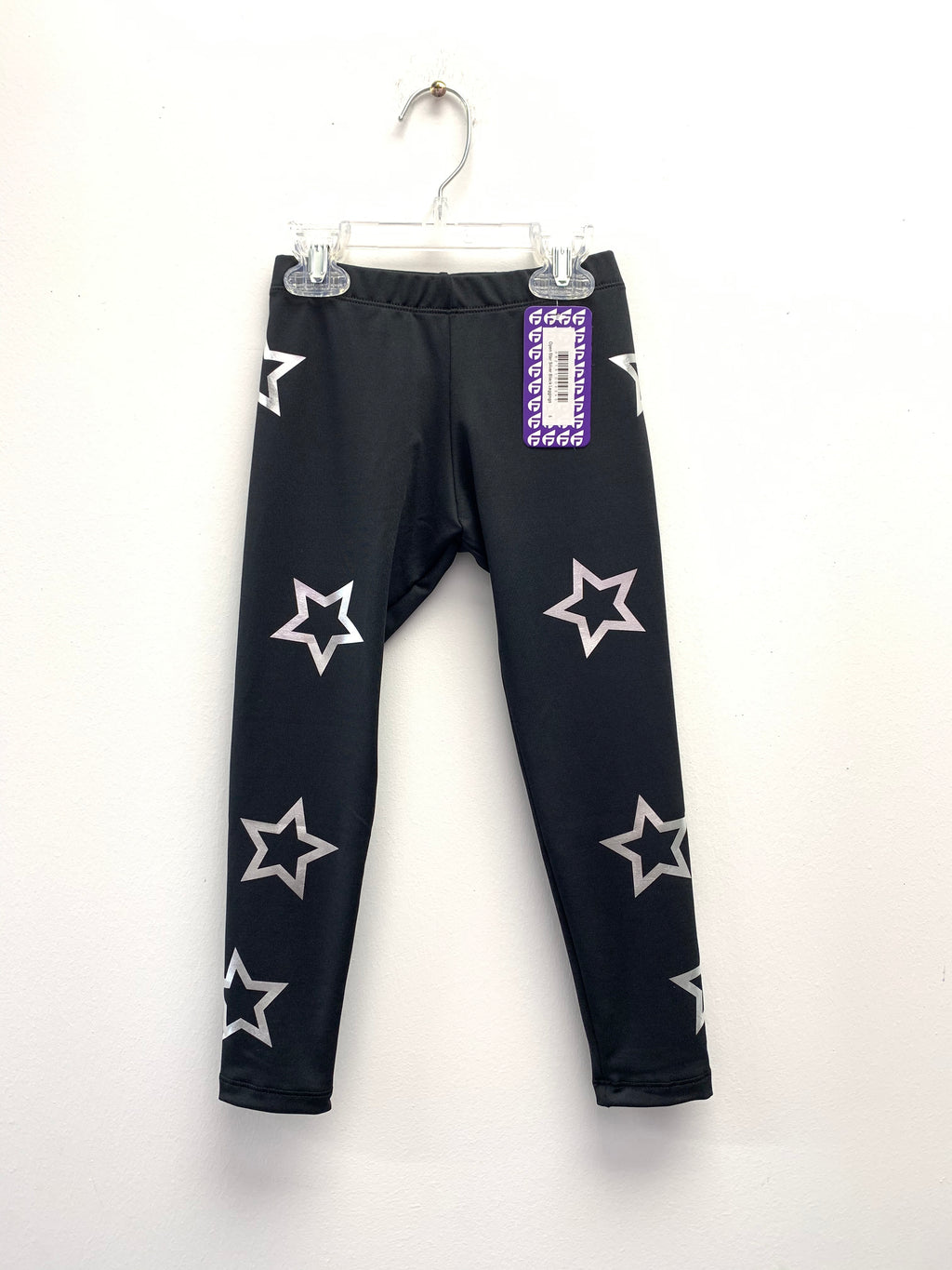 Open Stars Silver Black Leggings-Legging-Fanilu