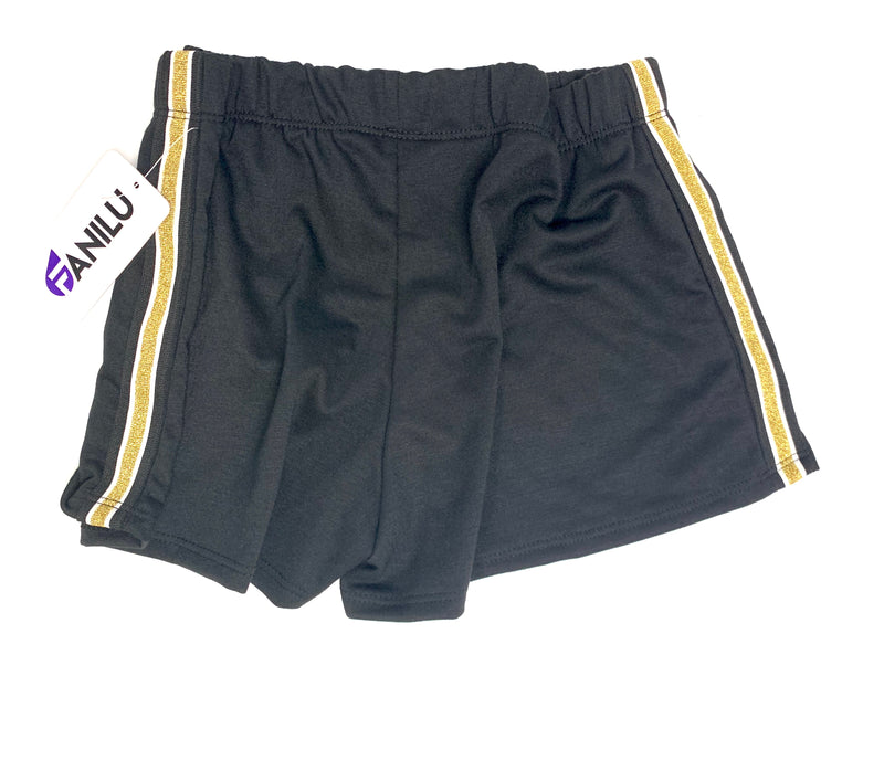 Stripe Side Shorts Black and Gold - Fanilu Activewear For Kids