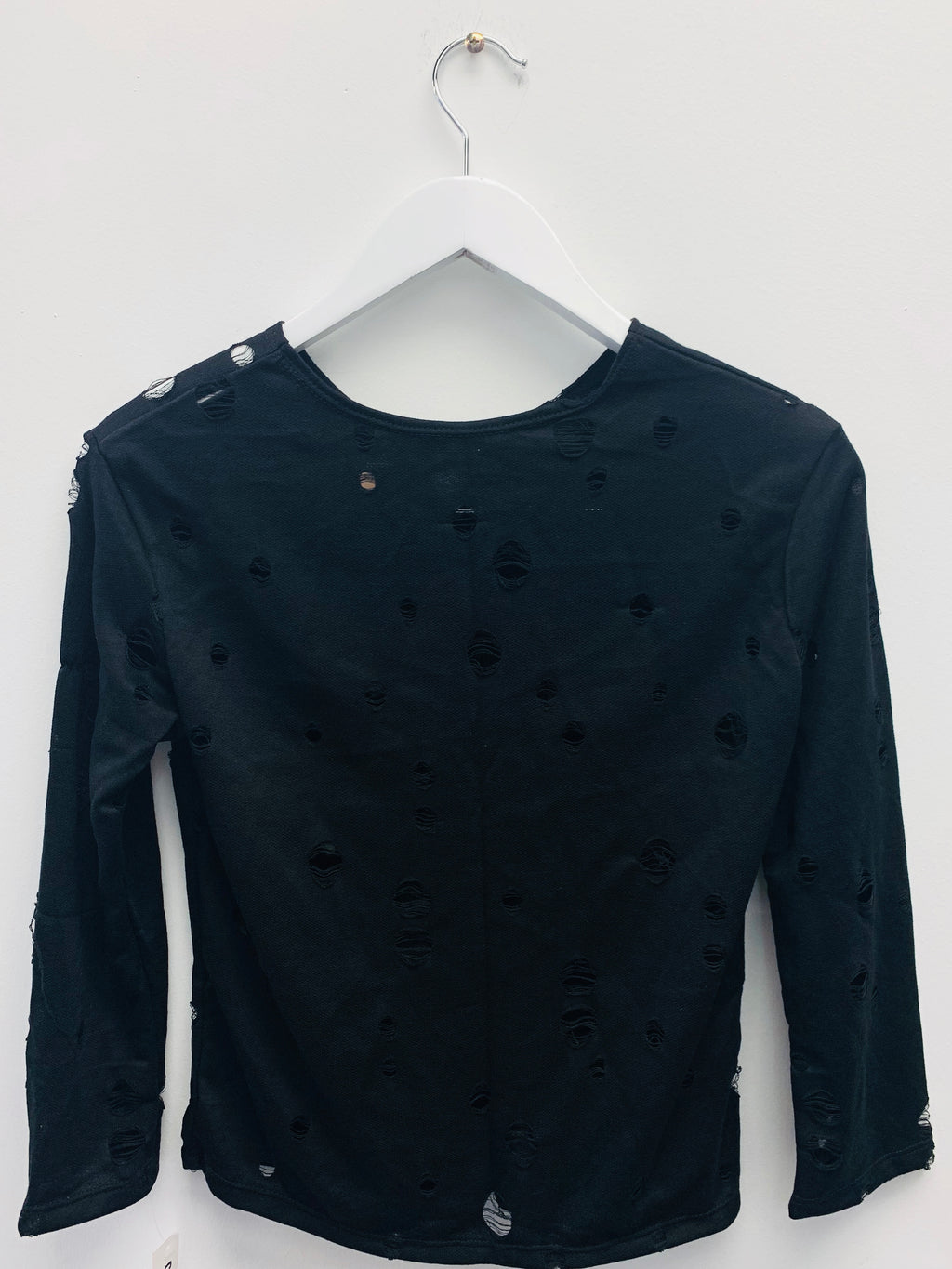 Long Sleeve Hole Black-Fanilu