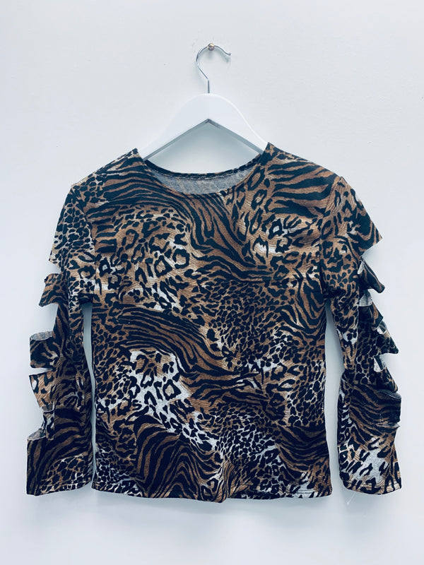 Laser Cut Sleeve Brown Leopard-Fanilu