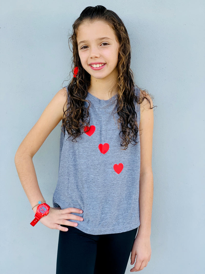 Hearts Red Gray Tank