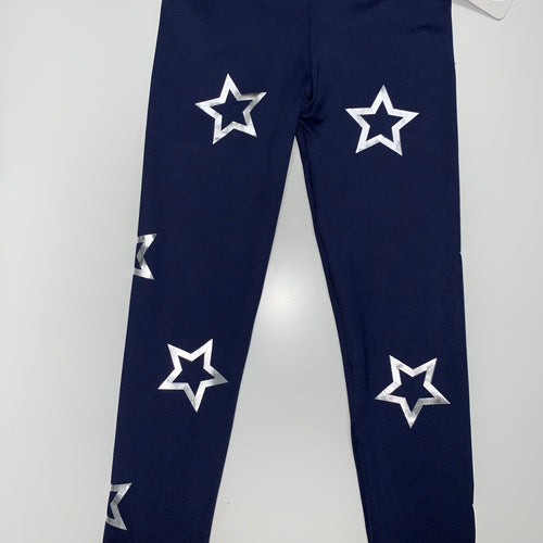 Blue/Silver Open Stars Leggings