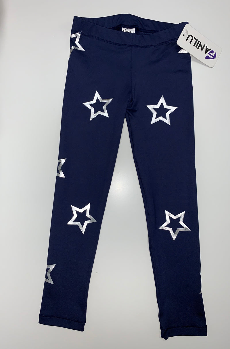 Open Stars Silver Blue Leggings