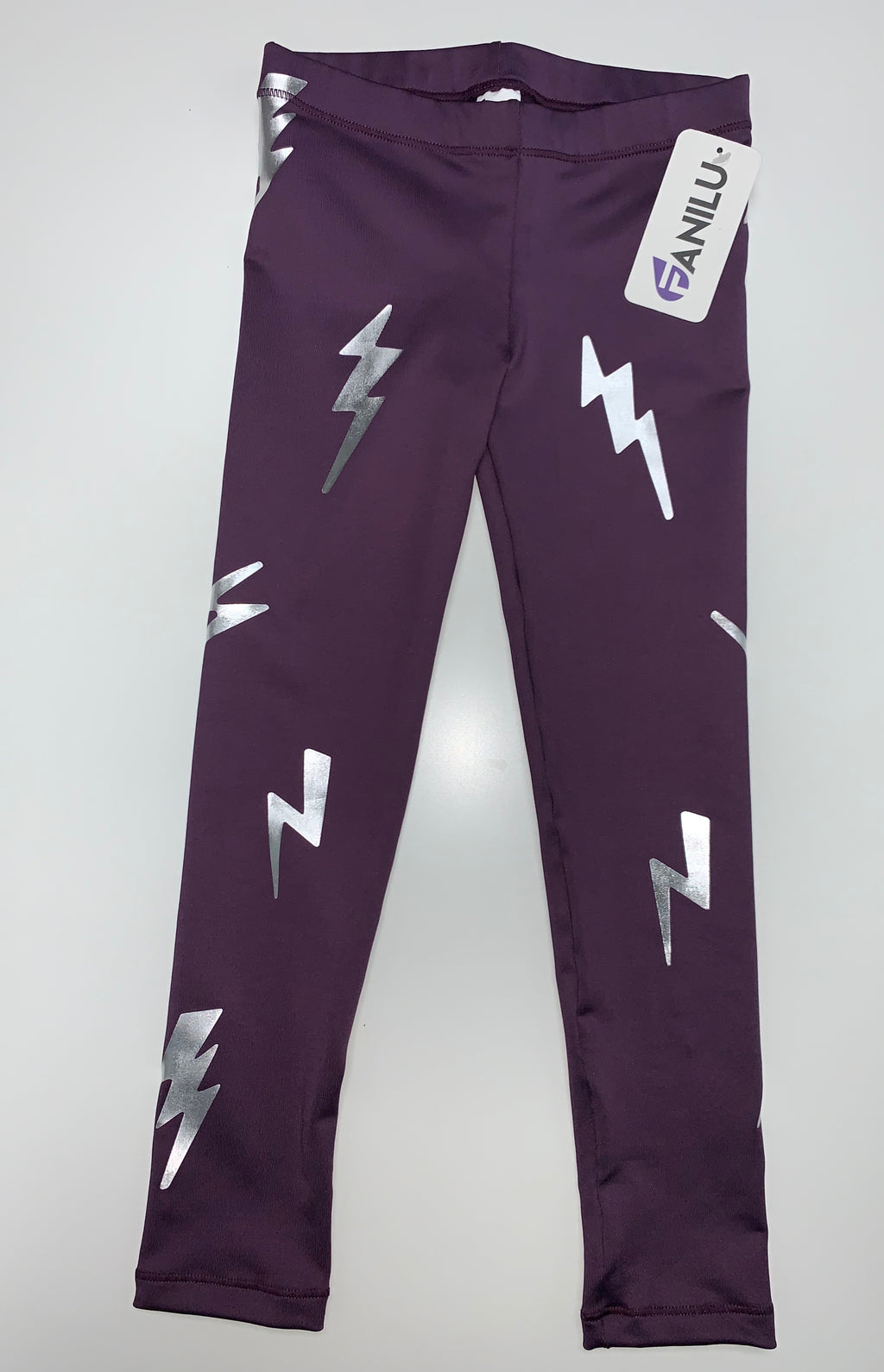 Bolts Silver Purple Leggings