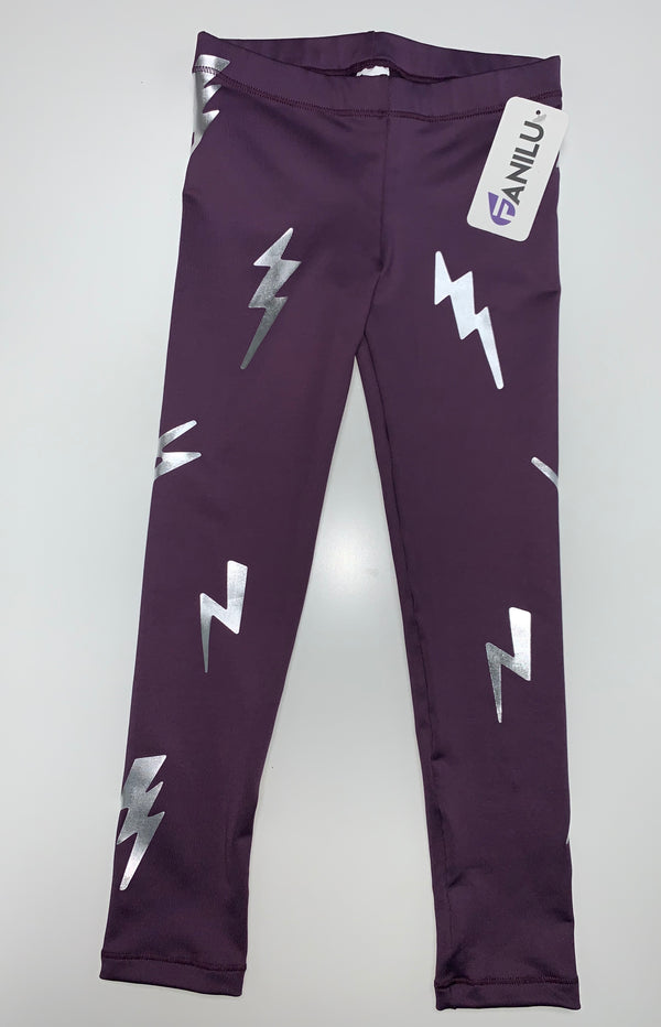 Bolts Silver Purple Leggings-Legging-Fanilu