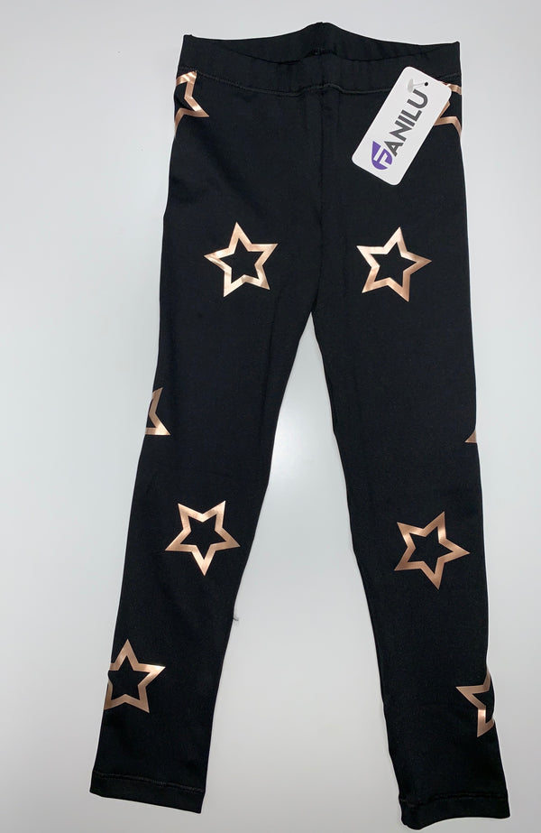 Open Stars Rose Gold Leggings-Legging-Fanilu